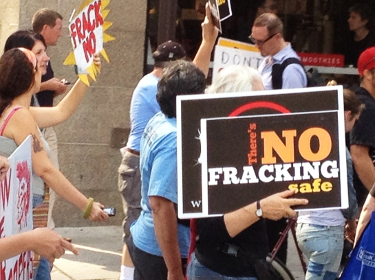 A rally against hydraulic fracturing at the Philadelphia Convention Center. - Photo by Peter Ott
